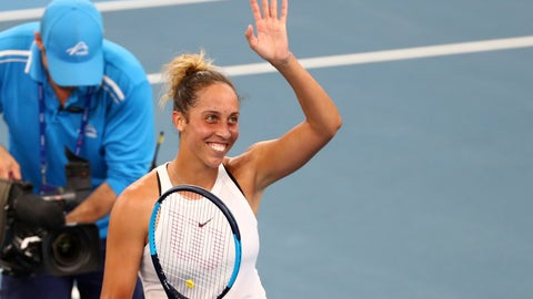 <p>               Madison Keys of the United States waves to the crowd after winning her semifinal match against Petra Kvitova of the Czech Republic 3-6, 6-2, 6-3, at the Brisbane International tennis tournament in Brisbane, Australia, Saturday, Jan. 11, 2020. (AP Photo/Tertius Pickard)             </p>