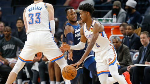 <p>               Oklahoma City Thunder's Mike Muscala, left, sets a pick for Shai Gilgeous-Alexander, right, of Canada as he drives past Minnesota Timberwolves' Josh Okogie of Nigeria in the first half of an NBA basketball game Monday, Jan. 13, 2020, in Minneapolis. (AP Photo/Jim Mone)             </p>