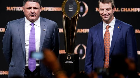 <p>               LSU head coach Ed Orgeron, left, and Clemson head coach Dabo Swinney pose with the trophy after a news conference for the NCAA College Football Playoff national championship game Sunday, Jan. 12, 2020, in New Orleans. Clemson is scheduled to play LSU on Monday. (AP Photo/Chris Carlson)             </p>