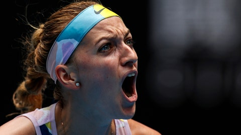 <p>               Petra Kvitova of the Czech Republic reacts during her fourth round match against Greece's Maria Sakkari at the Australian Open tennis championship in Melbourne, Australia, Sunday, Jan. 26, 2020. (AP Photo/Andy Wong)             </p>