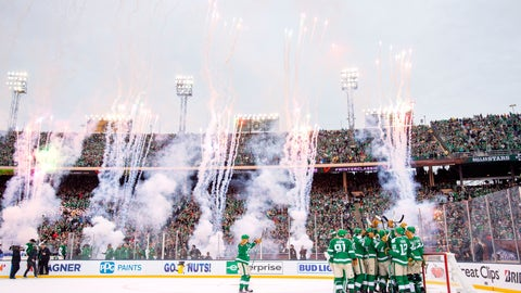 <p>               The Dallas Stars celebrate their 4-2 victory over the Nashville Predators at the end of the NHL Winter Classic hockey game at the Cotton Bowl, Wednesday, Jan. 1, 2020, in Dallas. (AP Photo/Jeffrey McWhorter)             </p>