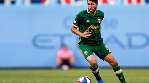 <p>               FILE- In this July 7, 2019, file photo, Portland Timbers midfielder Diego Valeri controls the ball during the first half of an MLS soccer match against New York City FC in New York. It seemed inconceivable that Valeri, the team's captain who had bonded with the city, would don another jersey in Major League Soccer. But the season stretched on without a deal between the club and its all-time goals and assists leader. (AP Photo/Adam Hunger, File)             </p>
