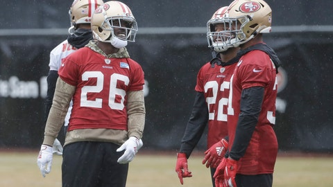 <p>               San Francisco 49ers running back Tevin Coleman (26) smiles next to Matt Breida (22) and Raheem Mostert during practice at the team's NFL football training facility in Santa Clara, Calif., Thursday, Jan. 16, 2020. The 49ers are scheduled to host the Green Bay Packers in the NFC Championship game Sunday. (AP Photo/Jeff Chiu)             </p>
