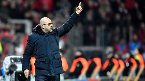 <p>               Leverkusen's head coach Peter Bosz gives instructions from the side line during the Champions League Group D soccer match between Bayer Leverkusen and Juventus at the BayArena in Leverkusen, Germany, Wednesday, Dec. 11, 2019. (AP Photo/Martin Meissner)             </p>