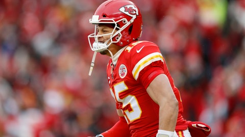 <p>               Kansas City Chiefs quarterback Patrick Mahomes (15) reacts after a Chiefs' touchdown during the first half of an NFL divisional playoff football game against the Houston Texans, in Kansas City, Mo., Sunday, Jan. 12, 2020. (AP Photo/Jeff Roberson)             </p>