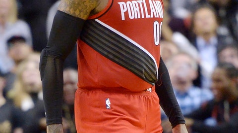 <p>               Portland Trail Blazers forward Carmelo Anthony reacts after sinking a go-ahead basket against the Toronto Raptors during the second half of an NBA basketball game Tuesday, Jan. 7, 2020, in Toronto. (Nathan Denette/The Canadian Press via AP)             </p>