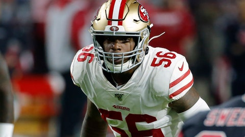 <p>               FILE - In this Oct. 31, 2019, file photo, San Francisco 49ers linebacker Kwon Alexander (56) looks on during the first half of an NFL football game against the Arizona Cardinals, in Glendale, Ariz. Alexander has returned to practice for the San Francisco 49ers on Thursday, Jan. 2, 2020, for the first time since tearing his pectoral muscle midway through the season. The Niners opened up the three-week practice window for Alexander to be activated from injured reserve in the playoffs. (AP Photo/Rick Scuteri, File)             </p>