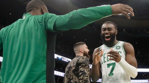 <p>               Boston Celtics guard Jaylen Brown (7) celebrates with teammate Kemba Walker in the second half of an NBA basketball game against the Detroit Pistons, Friday, Dec. 20, 2019, in Boston. (AP Photo/Elise Amendola)             </p>