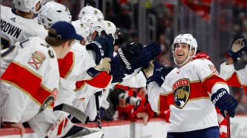 <p>               Florida Panthers defenseman Mark Pysyk is congratulated for his goal against the Detroit Red Wings during the first period of an NHL hockey game Saturday, Jan. 18, 2020, in Detroit. (AP Photo/Paul Sancya)             </p>