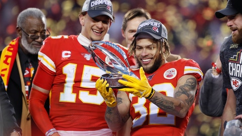 <p>               Kansas City Chiefs' Tyrann Mathieu and Patrick Mahomes (15) hold up the Lamar Hunt Trophy after the NFL AFC Championship football game against the Tennessee Titans Sunday, Jan. 19, 2020, in Kansas City, MO. The Chiefs won 35-24 to advance to Super Bowl 54. (AP Photo/Charlie Neibergall)             </p>