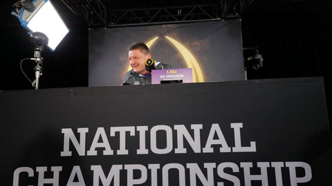 <p>               LSU head coach Ed Orgeron speaks during media day for NCAA College Football Playoff national championship game Saturday, Jan. 11, 2020, in New Orleans. Clemson is scheduled to play LSU on Monday. (AP Photo/Gerald Herbert).             </p>