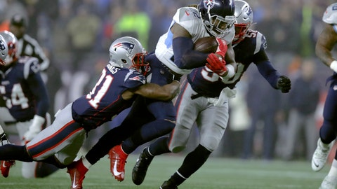 <p>               New England Patriots defensive back Jonathan Jones, left, tries to bring down Tennessee Titans running back Derrick Henry in the first half of an NFL wild-card playoff football game, Saturday, Jan. 4, 2020, in Foxborough, Mass. (AP Photo/Charles Krupa)             </p>
