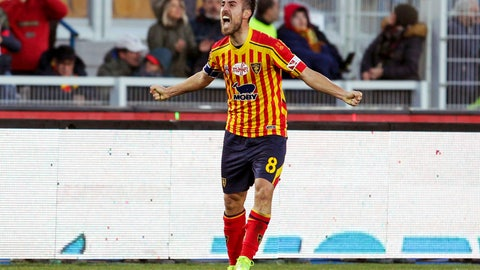 <p>               Lecce's Marco Mancosu celebrates after he scored his side's first goal during a Serie A soccer match between Lecce and Inter Milan, in Lecce, Italy, Sunday, Jan. 19, 2020. (Donato Fasano/LaPresse via AP)             </p>