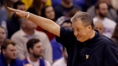<p>               West Virginia head coach Bob Huggins reacts to a call during the first half of an NCAA college basketball game against Kansas, Saturday, Jan. 4, 2020, in Lawrence, Kan. (AP Photo/Charlie Riedel)             </p>