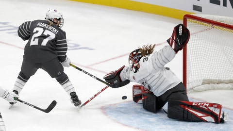<p>               Canada goalie Ann-Renee Desbiens (35) stops a United States' Annie Pankowski (27) shot during the first period in the women's 3-on-3 game, part of the NHL hockey All-Star weekend, Friday, Jan. 24, 2020, in St. Louis. (AP Photo/Jeff Roberson)             </p>