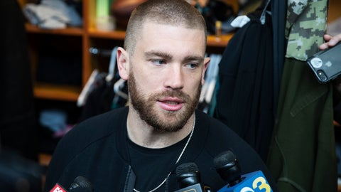 <p>               Philadelphia Eagles tight end Zach Ertz speaks with members of the media at the NFL football team's practice facility in Philadelphia, Monday, Jan. 6, 2020. The Eagles ended their season with a 17-9 loss to the Seattle Seahawks on Sunday. (AP Photo/Matt Rourke)             </p>