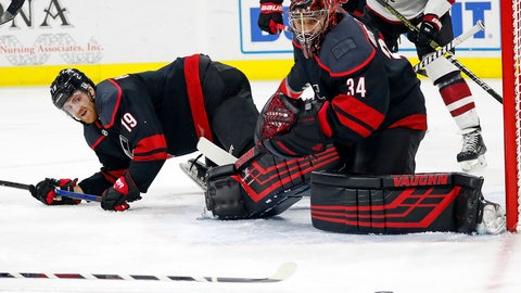 <p>               Carolina Hurricanes' Dougie Hamilton (19) and goaltender Petr Mrazek (34) eye the puck as it travels wide of the net during the first period of the team's NHL hockey game against the Arizona Coyotes in Raleigh, N.C., Friday, Jan. 10, 2020. (AP Photo/Karl B DeBlaker)             </p>