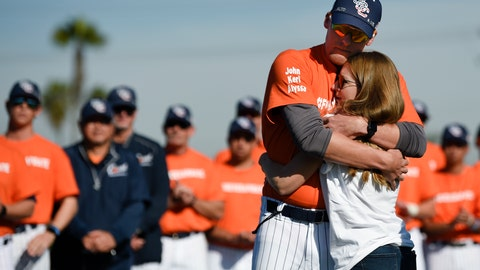 <p>               Associate coach Nate Johnson, left, embraces his wife Jonai during a ceremony held for John Altobelli, the late head coach of Orange Coast College baseball, who died in a helicopter crash alongside former NBA basketball player Kobe Bryant in Costa Mesa, Calif., Tuesday, Jan. 28, 2020. His wife Keri and youngest daughter Alyssa were also victims of the crash. (AP Photo/Kelvin Kuo)             </p>