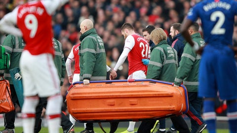 <p>               Arsenal's Calum Chambers leaves the pitch after being injured during the English Premier League soccer match between Arsenal and Chelsea, at the Emirates Stadium in London, Sunday, Dec. 29, 2019. (AP Photo/Ian Walton)             </p>