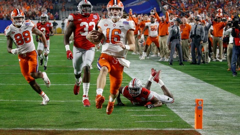 <p>               Clemson quarterback Trevor Lawrence runs in for a touchdown against Ohio State during the first half of the Fiesta Bowl NCAA college football playoff semifinal Saturday, Dec. 28, 2019, in Glendale, Ariz. (AP Photo/Ross D. Franklin)             </p>