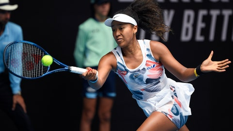 <p>               Japan's Naomi Osaka makes a forehand return to China's Zheng Saisai during their second round singles match at the Australian Open tennis championship in Melbourne, Australia, Wednesday, Jan. 22, 2020. (AP Photo/Andy Brownbill)             </p>