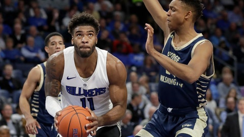 <p>               Saint Louis' Hasahn French, left, looks to the basket as George Washington's Ace Stallings defends during the second half of an NCAA college basketball game Wednesday, Jan. 8, 2020, in St. Louis. (AP Photo/Jeff Roberson)             </p>