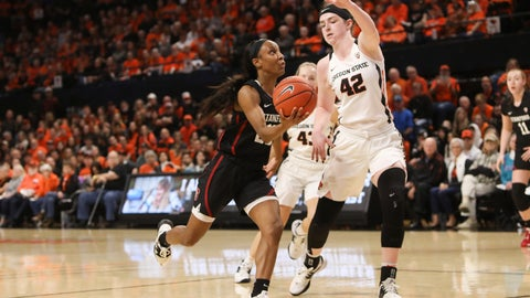 <p>               Stanford's Kiana Williams (23) drives to the basket past Oregon State's Kennedy Brown (42) during the first half of an NCAA college basketball game in Corvallis, Ore., Sunday, Jan. 19, 2020. (AP Photo/Amanda Loman)             </p>