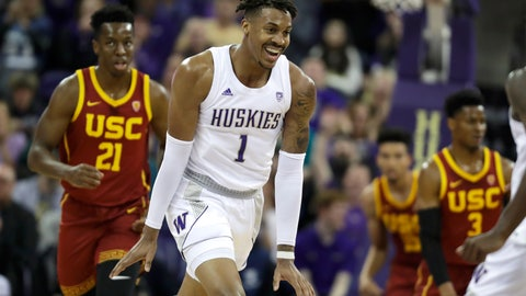 <p>               Washington forward Nate Roberts (1) reacts to a play against Southern California during the first half of an NCAA college basketball game, Sunday, Jan. 5, 2020, in Seattle. (AP Photo/Ted S. Warren)             </p>