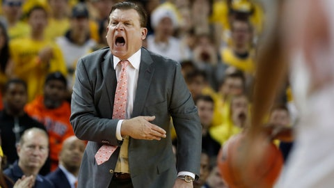 <p>               Illinois head coach Brad Underwood yells from the sideline during the first half of an NCAA college basketball game against Michigan, Saturday, Jan. 25, 2020, in Ann Arbor, Mich. (AP Photo/Carlos Osorio)             </p>