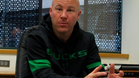 <p>               In this photo taken Jan. 3, 2020, Oregon women's soccer coach Graeme Abel talks about his new job with the Ducks in Eugene, Ore. Abel was an assistant coach under Jill Ellis with the U.S. women's national team and a veteran of the team's two World Cup titles. (AP Photo/Anne M. Peterson)             </p>