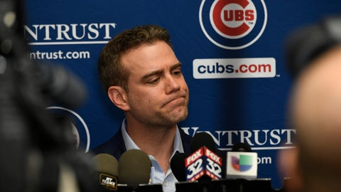 <p>               Chicago Cubs president of baseball operations Theo Epstein speaks to the media during the baseball team's convention, Friday, Jan. 17, 2020, in Chicago. (AP Photo/Paul Beaty)             </p>