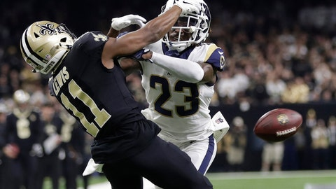 """<p>               FILE - In this Jan. 20, 2019, file photo, Los Angeles Rams' Nickell Robey-Coleman breaks up a pass intended for New Orleans Saints' Tommylee Lewis during the second half of the NFL football NFC championship game in New Orleans. With """"The Catch"""" that sent San Francisco to its first Super Bowl and """"The Blown Call"""" that kept New Orleans at home, NFC championship games have two seminal moments that rank with just about any in postseason history. (AP Photo/Gerald Herbert, File)             </p>"""