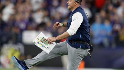 <p>               FILE - In this Jan. 11, 2020, file photo, Tennessee Titans head coach Mike Vrabel works against the Baltimore Ravens during the first half an NFL divisional playoff football game, in Baltimore. It's taken first-time head coach Mike Vrabel two seasons, but the hands' on former linebacker with three Super Bowl rings himself has them a win away from the franchise's second Super Bowl berth. (AP Photo/Julio Cortez, File)             </p>