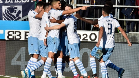 <p>               Lazio players celebrates after Ciro Immobile scored his side's winning goal, during the Italian Series A soccer match between Brescia and Lazio at the Mario Rigamonti stadium in Brescia, Italy, Sunday, Jan. 5, 2020. (Gianluca Checchi/LaPresse via AP)             </p>
