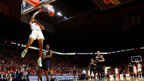 <p>               Iowa State guard Tyrese Haliburton (22) dunks the ball during the first half of an NCAA college basketball game against Purdue Fort Wayne, Sunday, Dec. 22, 2019, in Ames, Iowa. (AP Photo/Matthew Putney)             </p>