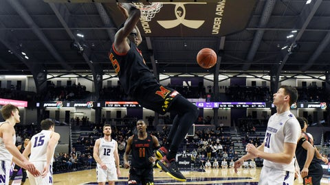 <p>               Maryland forward Jalen Smith (25) dunks the ball against Northwestern during the second half of an NCAA college basketball game, Tuesday, Jan. 21, 2020, in Evanston, Ill. (AP Photo/David Banks)             </p>