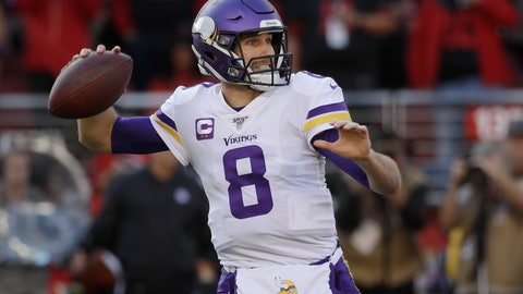 <p>               Minnesota Vikings quarterback Kirk Cousins (8) passes against the San Francisco 49ers during the first half of an NFL divisional playoff football game, Saturday, Jan. 11, 2020, in Santa Clara, Calif. (AP Photo/Marcio Jose Sanchez)             </p>