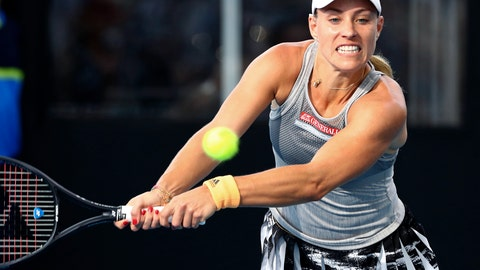 <p>               Angelique Kerber of Germany plays a shot during her match against Samantha Stosur of Australia at the Brisbane International tennis tournament in Brisbane, Australia, Monday, Jan. 6, 2020. (AP Photo/Tertius Pickard)             </p>
