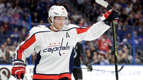 <p>               Washington Capitals center Nicklas Backstrom (19) celebrates his goal against the Tampa Bay Lightning during the first period of an NHL hockey game Saturday, Dec. 14, 2019, in Tampa, Fla. (AP Photo/Chris O'Meara)             </p>
