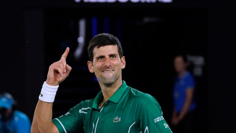<p>               Serbia's Novak Djokovic celebrates after defeating Switzerland's Roger Federer in their semifinal match at the Australian Open tennis championship in Melbourne, Australia, Thursday, Jan. 30, 2020. (AP Photo/Lee Jin-man)             </p>