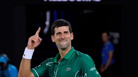 <p>               Serbia's Novak Djokovic celebrates after defeating Switzerland's Roger Federer in their semifinal match at the Australian Open tennis championship in Melbourne, Australia, Thursday, Jan. 30, 2020. (AP Photo/Lee Jin-man)             </p>