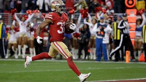 <p>               San Francisco 49ers running back Raheem Mostert scores against the Green Bay Packers during the first half of the NFL NFC Championship football game Sunday, Jan. 19, 2020, in Santa Clara, Calif. (AP Photo/Marcio Jose Sanchez)             </p>