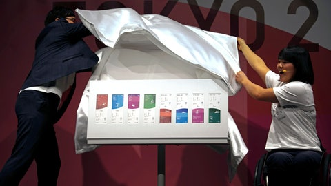 <p>               Paralympian Monika Seryu, right, and comedian Ryota Yamasato unveil tickets for the Tokyo 2020 Olympics and Paralympics Wednesday, Jan. 15, 2020, in Tokyo. (AP Photo/Jae C. Hong)             </p>