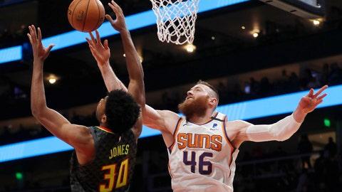 <p>               Phoenix Suns center Aron Baynes (46) battles Atlanta Hawks center Damian Jones (30) for a rebound in the first half of an NBA basketball game Tuesday, Jan. 14, 2020, in Atlanta. (AP Photo/John Bazemore)             </p>