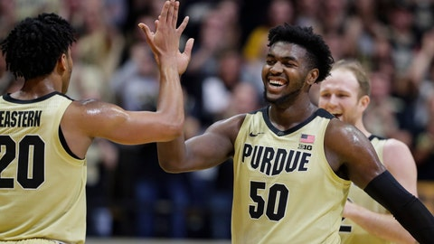 <p>               Purdue forward Trevion Williams (50) celebrates with guard Nojel Eastern (20) during the second half of an NCAA college basketball game against Michigan State in West Lafayette, Ind., Sunday, Jan. 12, 2020. (AP Photo/Michael Conroy)             </p>