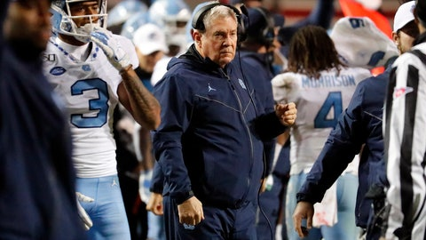 <p>               North Carolina head coach Mack Brown watches from the sideline during the second half of an NCAA college football game against North Carolina State in Raleigh, N.C., Saturday, Nov. 30, 2019. (AP Photo/Karl B DeBlaker)             </p>