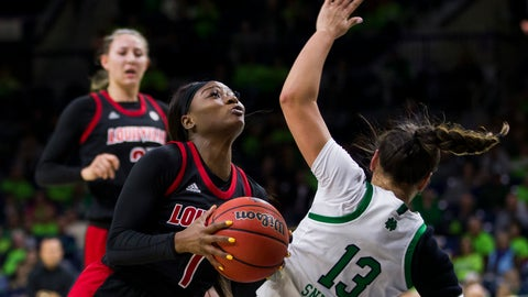 <p>               Louisville's Dana Evans (1) drives in for a layup against Notre Dame's Marta Sniezek (13) during the first half of an NCAA college basketball game Thursday, Jan. 30, 2020, in South Bend, Ind. (AP Photo/Robert Franklin)             </p>