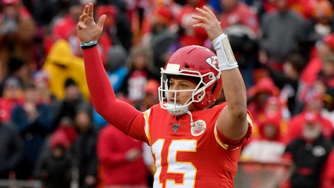 <p>               Kansas City Chiefs quarterback Patrick Mahomes (15) celebrates following an NFL football game against the Los Angeles Chargers in Kansas City, Mo., Sunday, Dec. 29, 2019. Kansas City Chiefs won 31-21. (AP Photo/Ed Zurga)             </p>