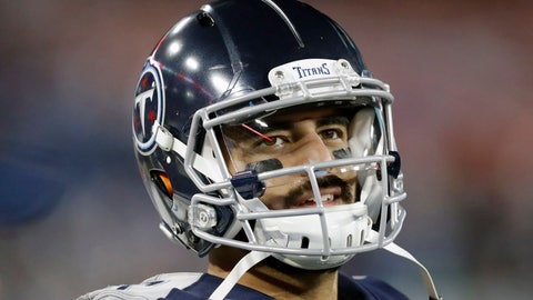 <p>               FILE - In this Nov. 24, 2019, file photo, Tennessee Titans quarterback Marcus Mariota looks at the scoreboard in the second half of an NFL football game against the Jacksonville Jaguars in Nashville, Tenn. The Tennessee Titans benched Mariota for Ryan Tannehill in mid-October after a 2-4 start. (AP Photo/James Kenney, File)             </p>