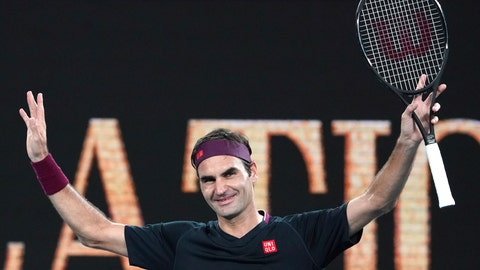 <p>               Switzerland's Roger Federer celebrates after defeating United States' Steve Johnson during their first round singles match at the Australian Open tennis championship in Melbourne, Australia, Monday, Jan. 20, 2020. (AP Photo/Lee Jin-man)             </p>